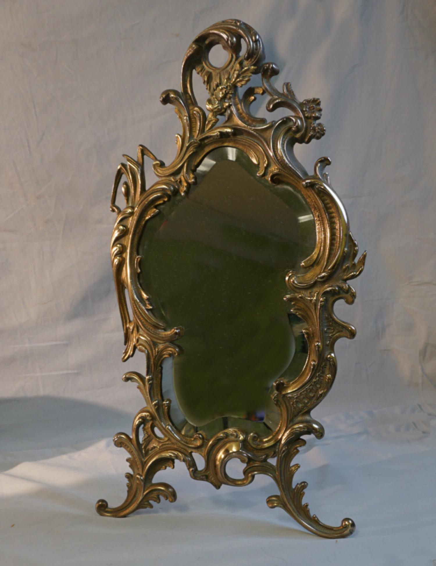 Brass rococo style standing dresser mirror c1880