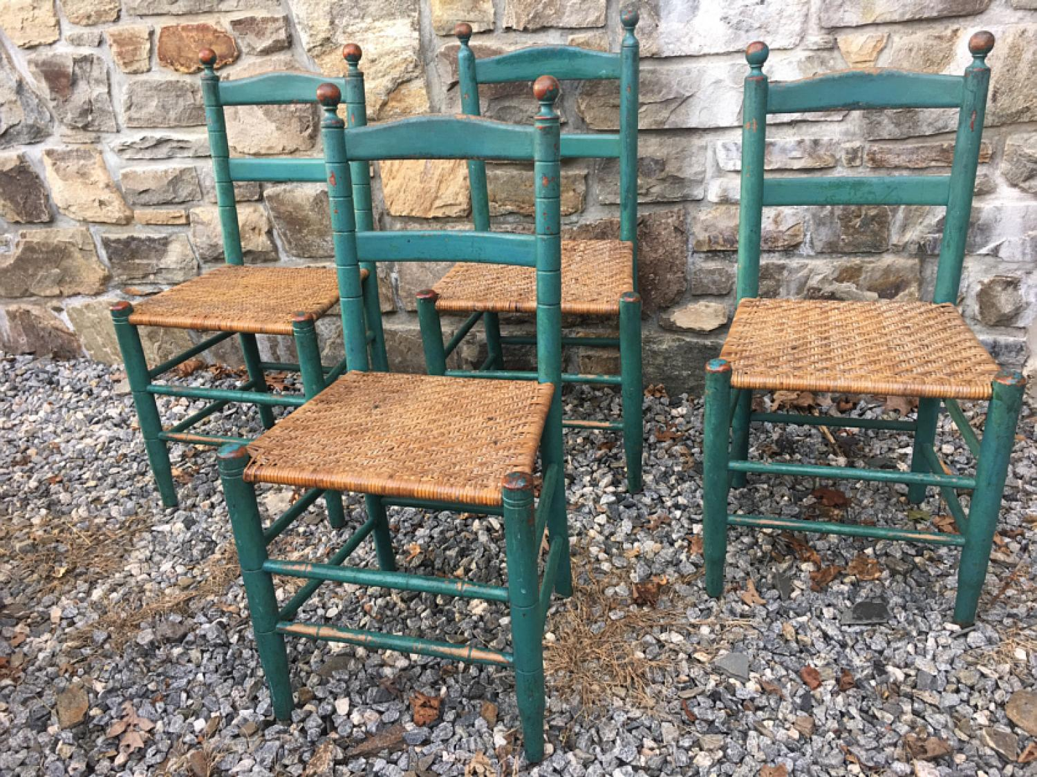 Set of 4 Quebec blue green painted ladder back chairs c1860