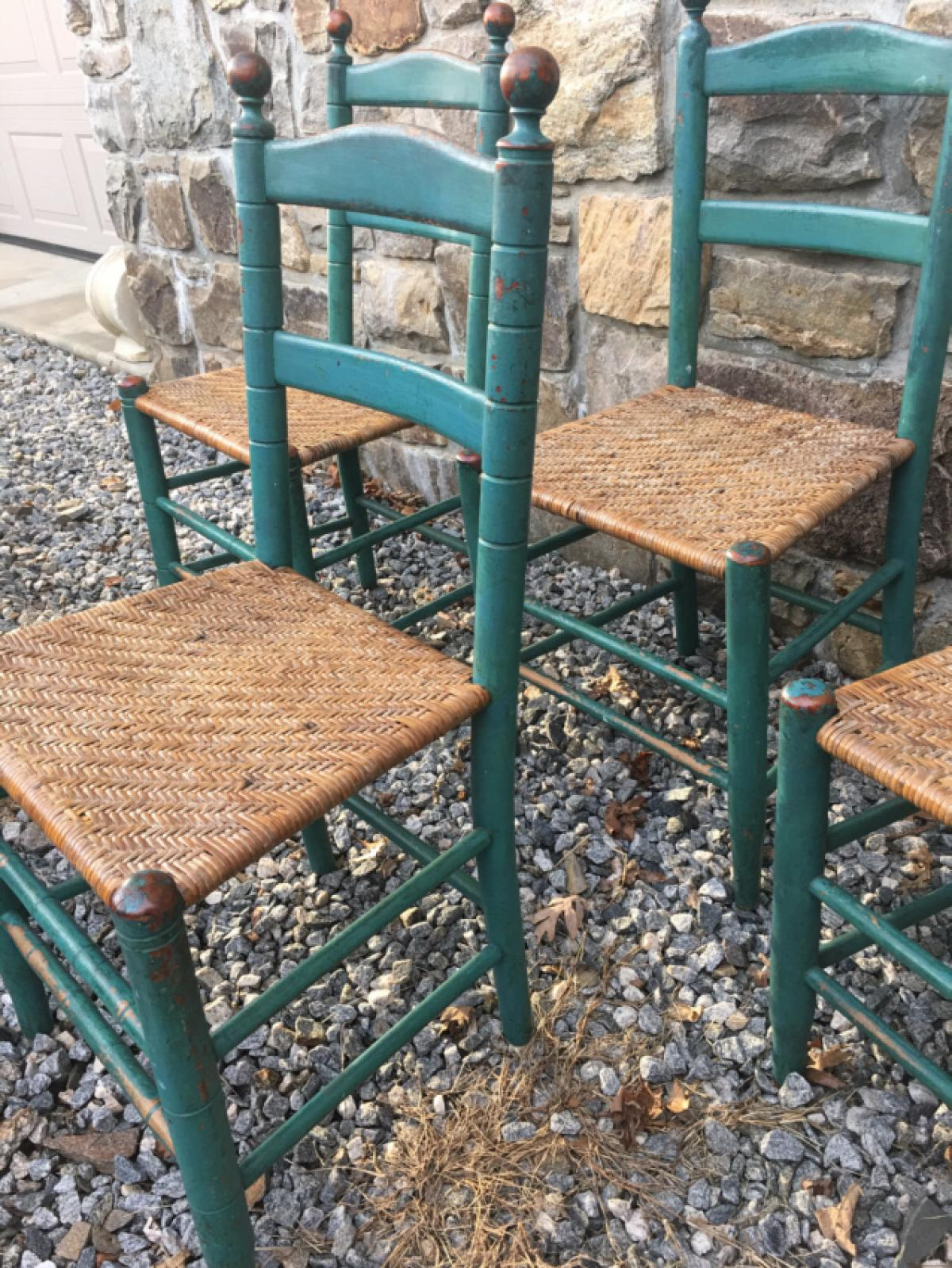 Painted ladder back chairs - Antique Set Of 4 Quebec Painted Country Ladder Back Chairs In A Delicious Blue Green C1860 With Woven Seats Excellent Paint And Condition