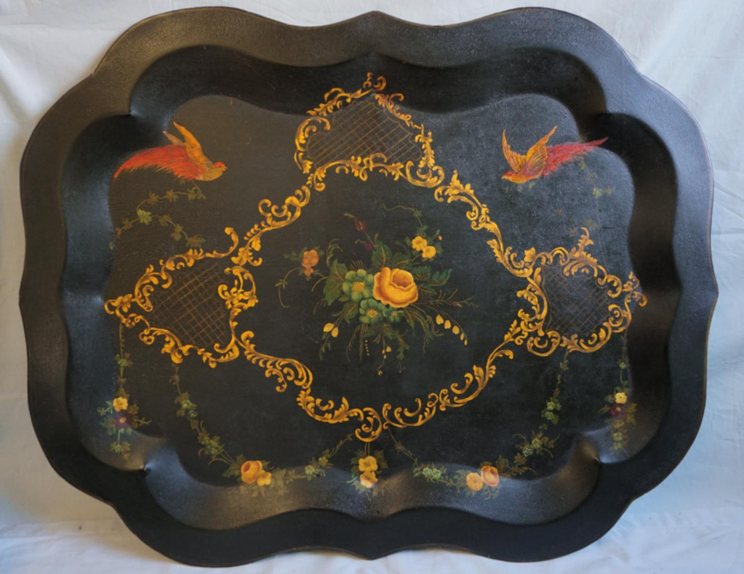 Antique Victorian tole painted tin tray painted free hand c1880