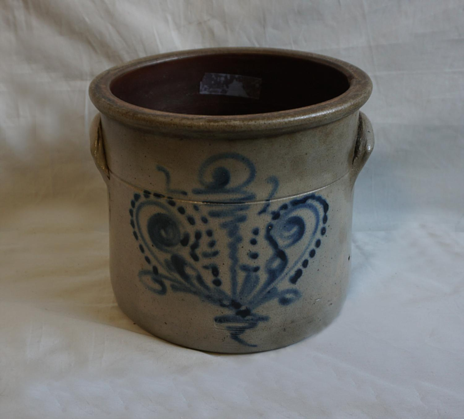 19thc antique American stoneware crock with cobalt blue design