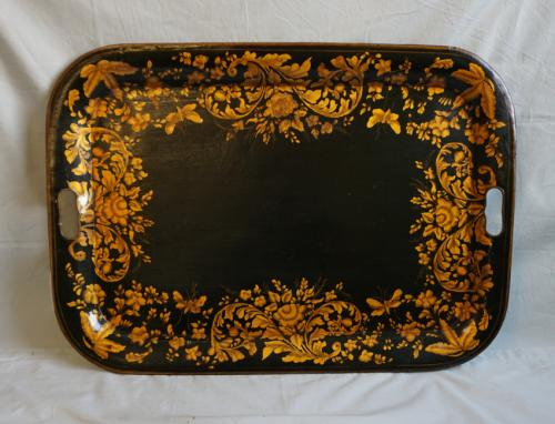 English Regency tole painted tray with gold leaf c1820
