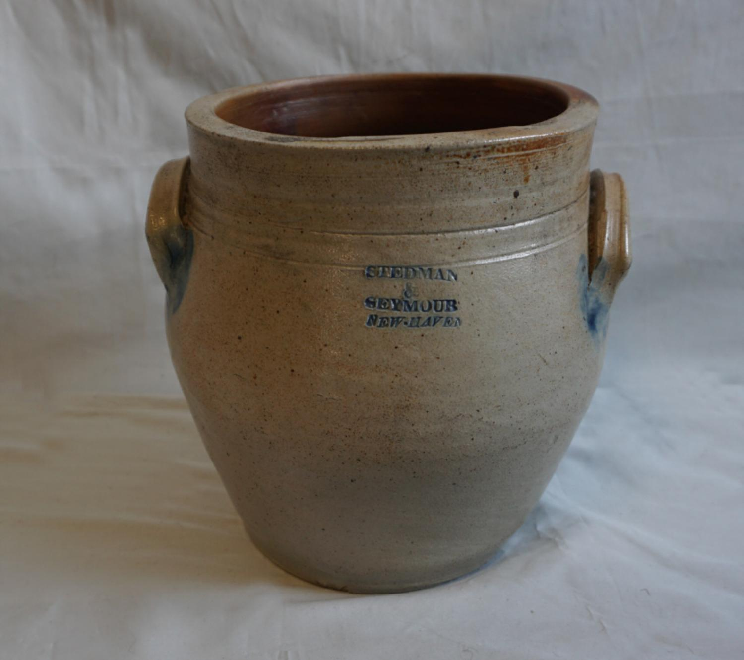 19thc Stedman and Seymour stoneware crock New Haven CT