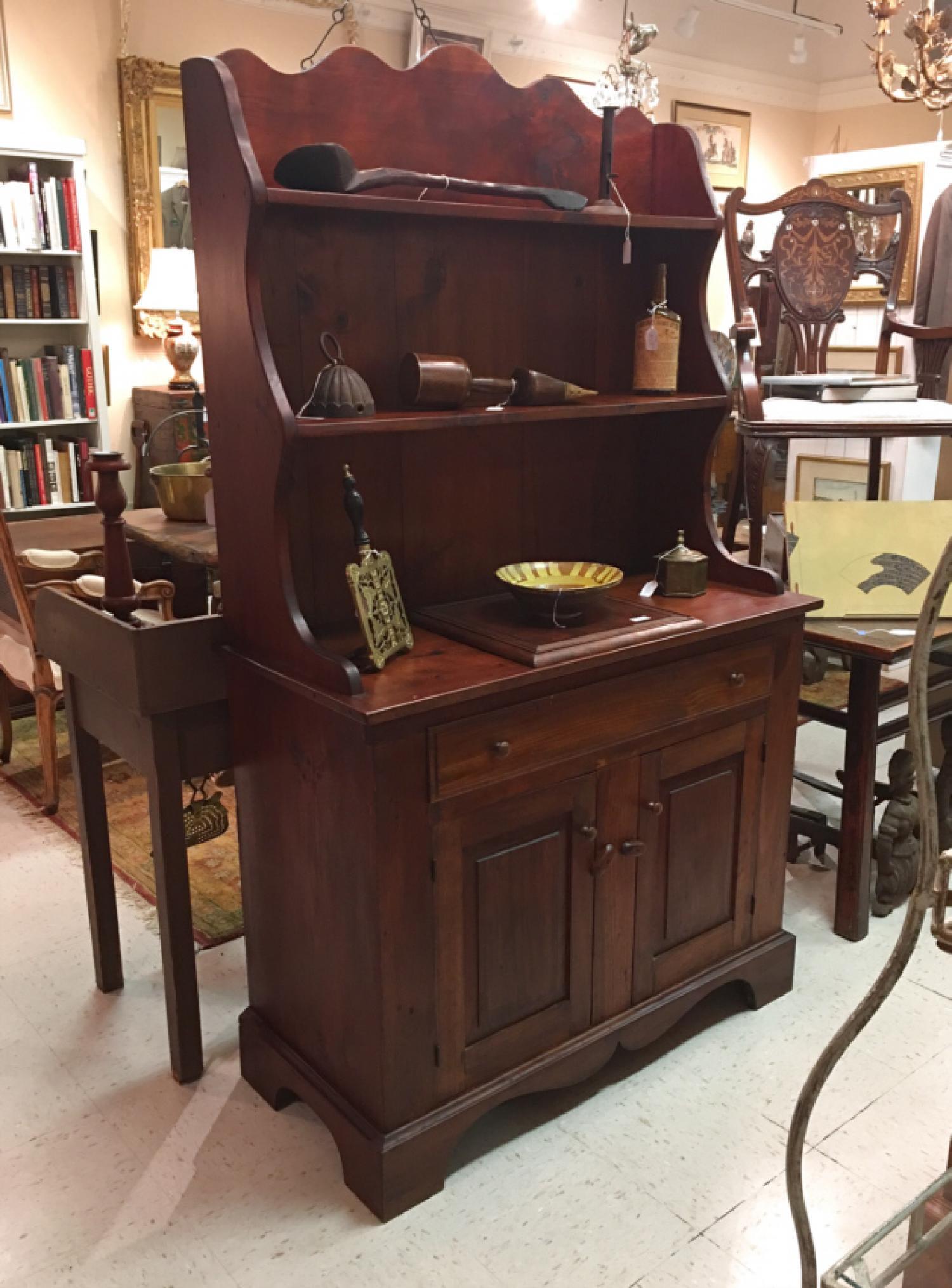 Vintage pine stepback kitchen cupboard