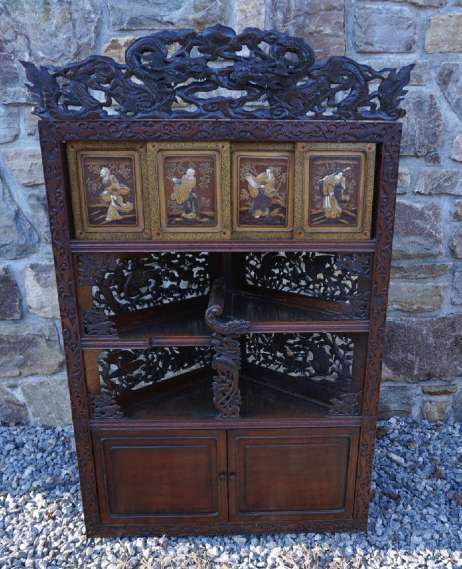 Japanese Meiji period carved corner cabinet c1860