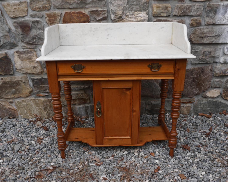 Victorian marble top pine server circa 1880