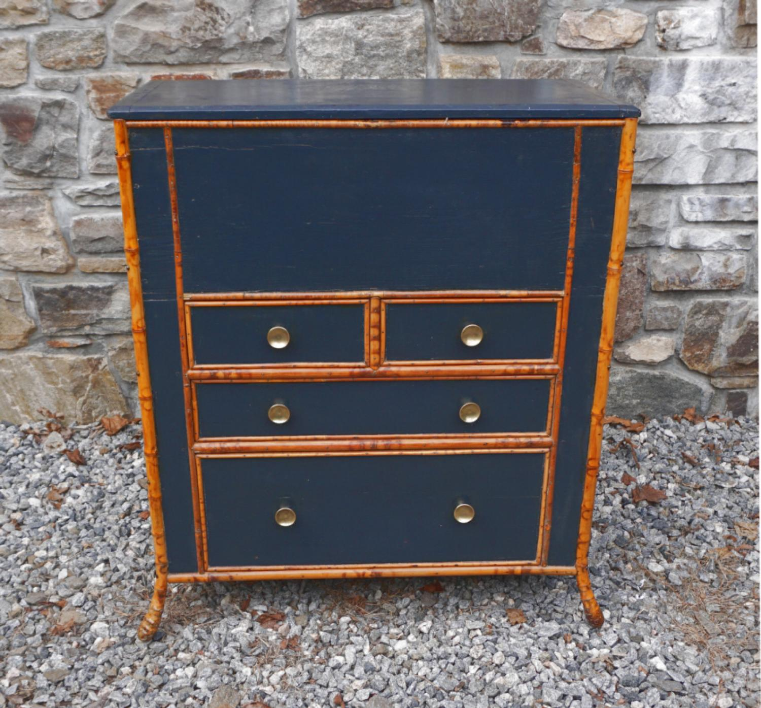 Antique pine and bamboo lift top blanket chest