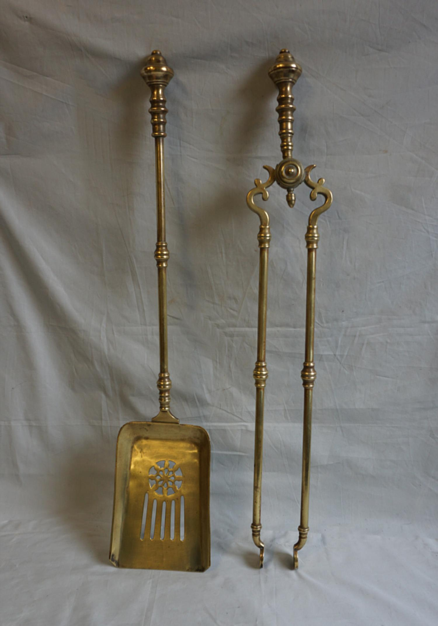 Brass Dutch or English fireplace shovel and tongs c1770