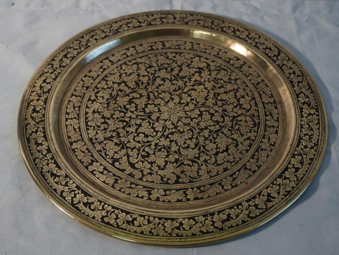 Persian niello brass tray with enamel c1920