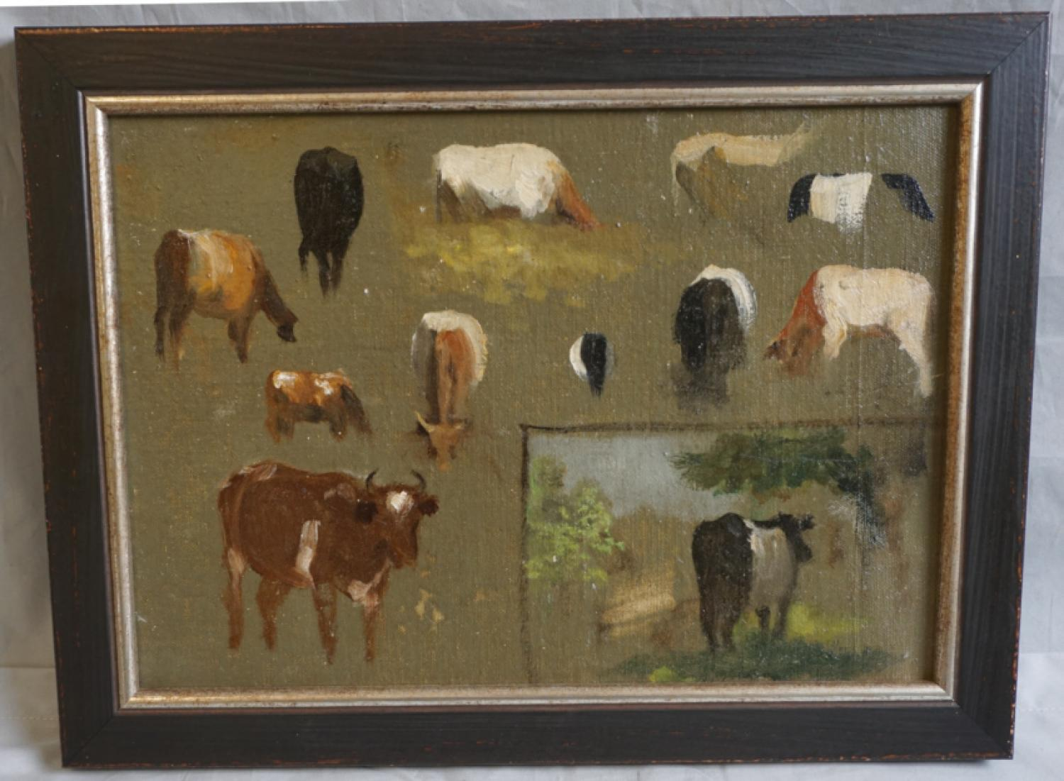 Fannie Burr cow profiles oil painting on board c1880