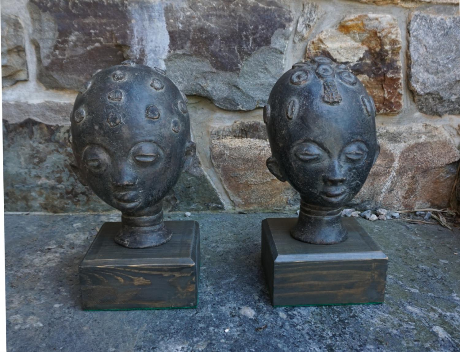 Pair of African pottery heads