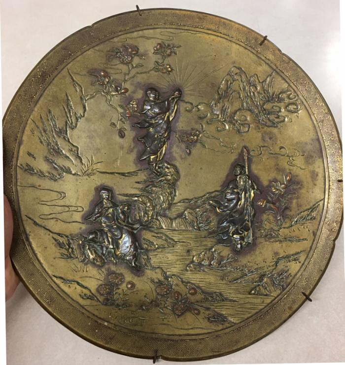Antique Japanese Kyoto bronze charger c1880