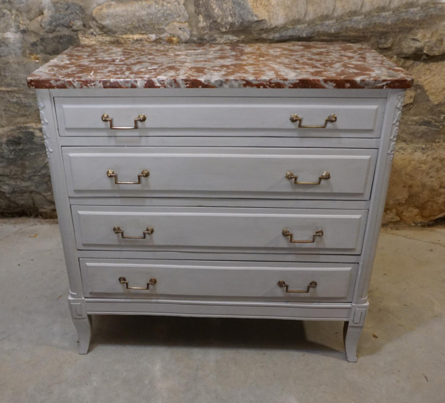 Vintage French gray marble top chest c1950