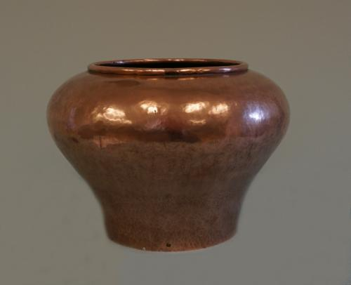 Arts and Crafts hand hammered copper plant pot