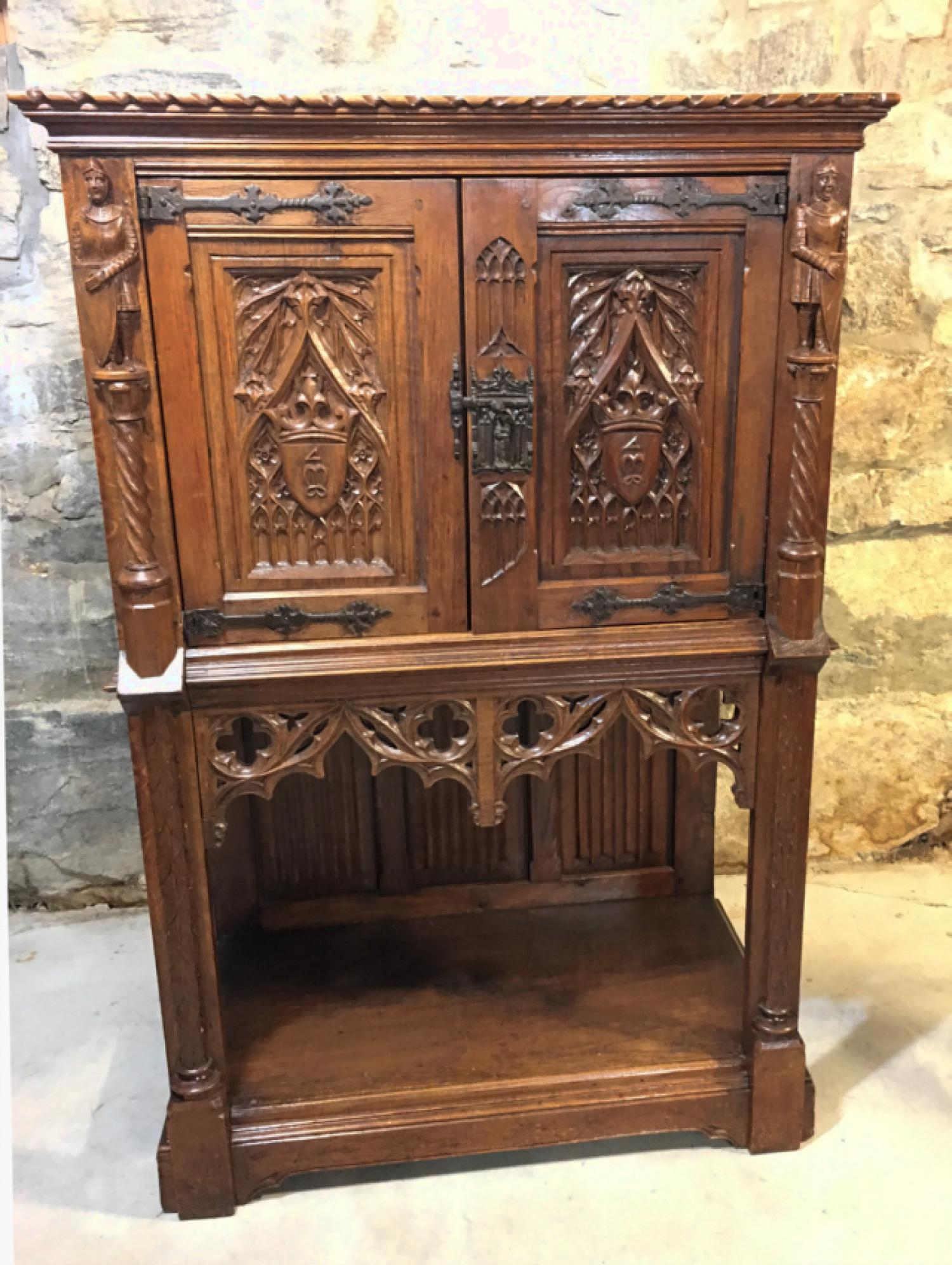 Oak Gothic Revival court cupboard c1880