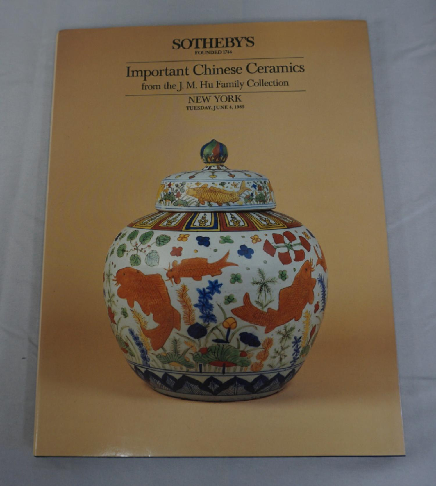 Important Chinese Ceramics J M Hu Collection Sothebys 1985