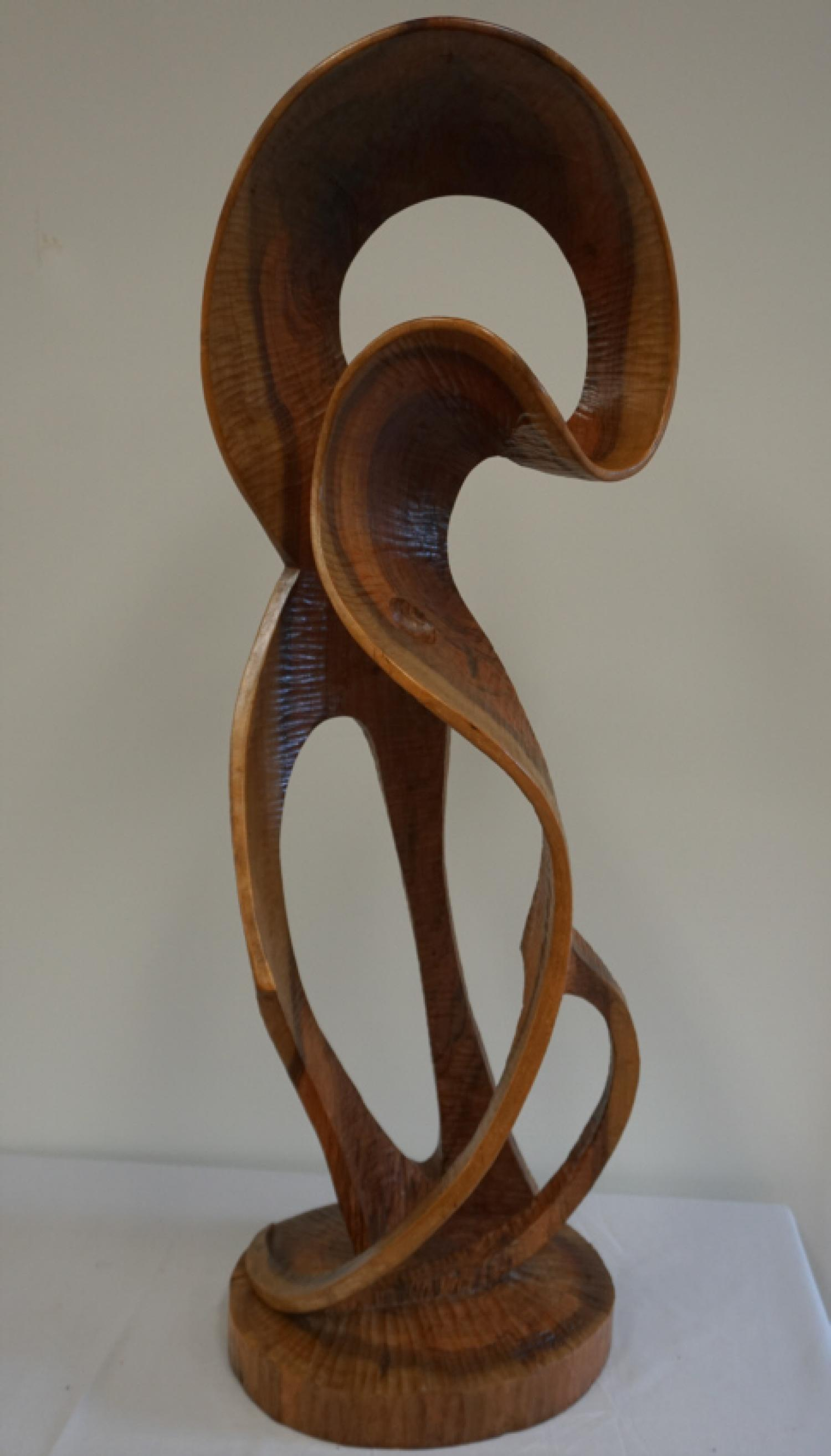 Spanish abstract wood sculpture signed Pozo 77