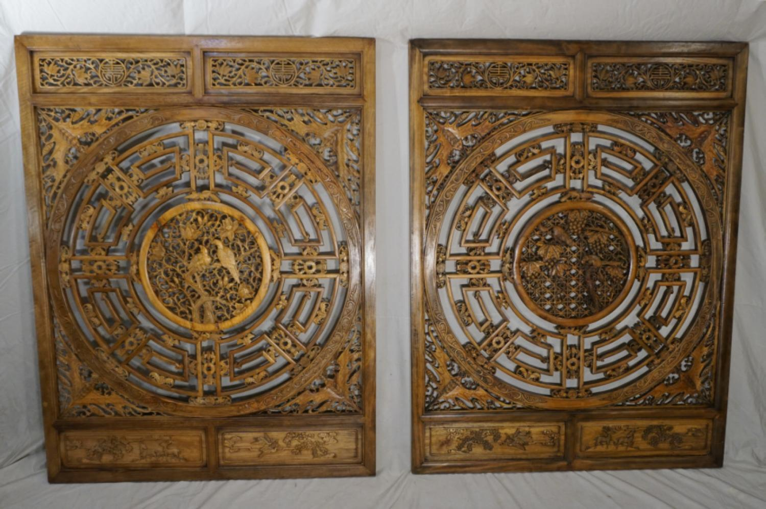 LG antique Chinese carved wood panels c1900