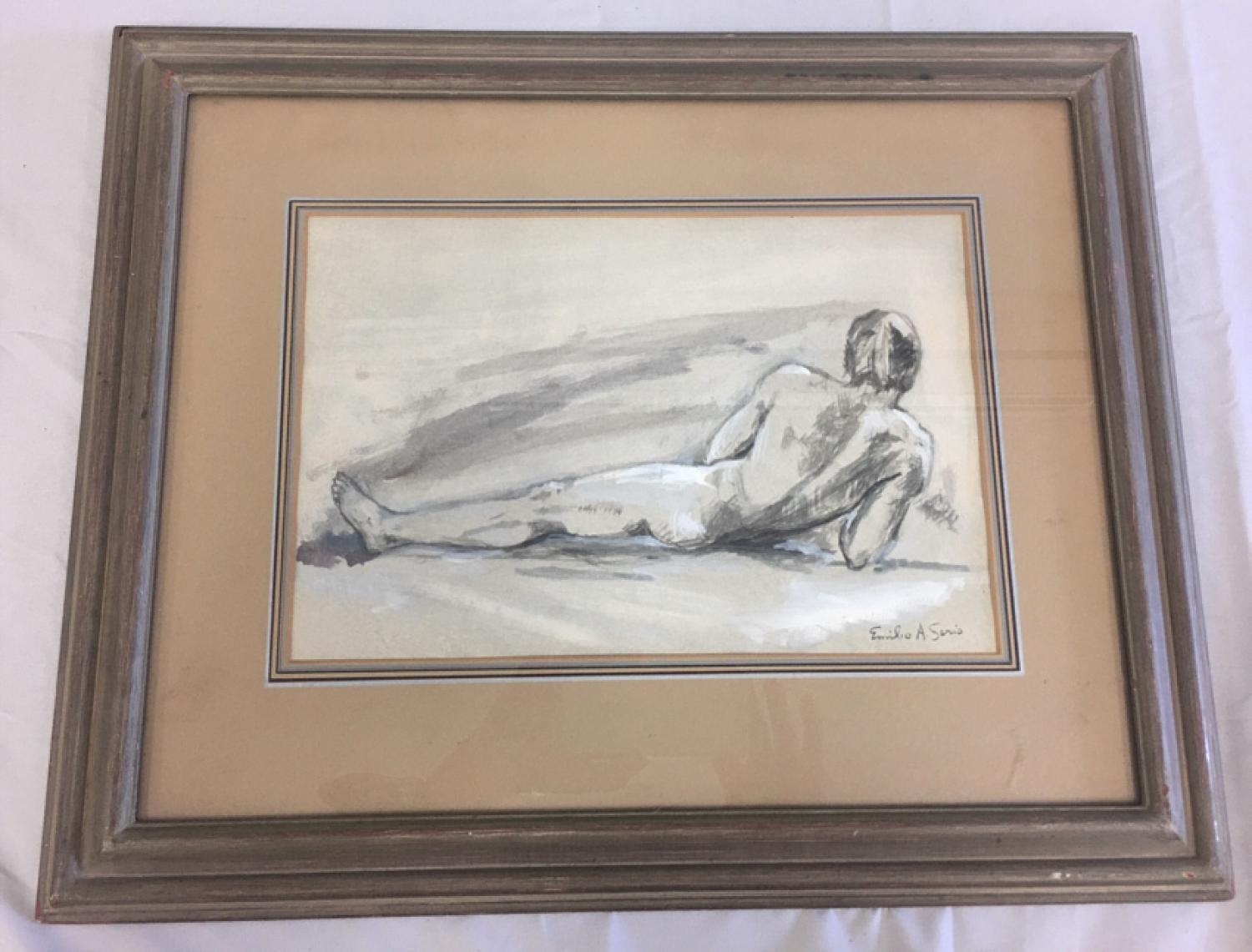 Emilio A Serio watercolor of male nude