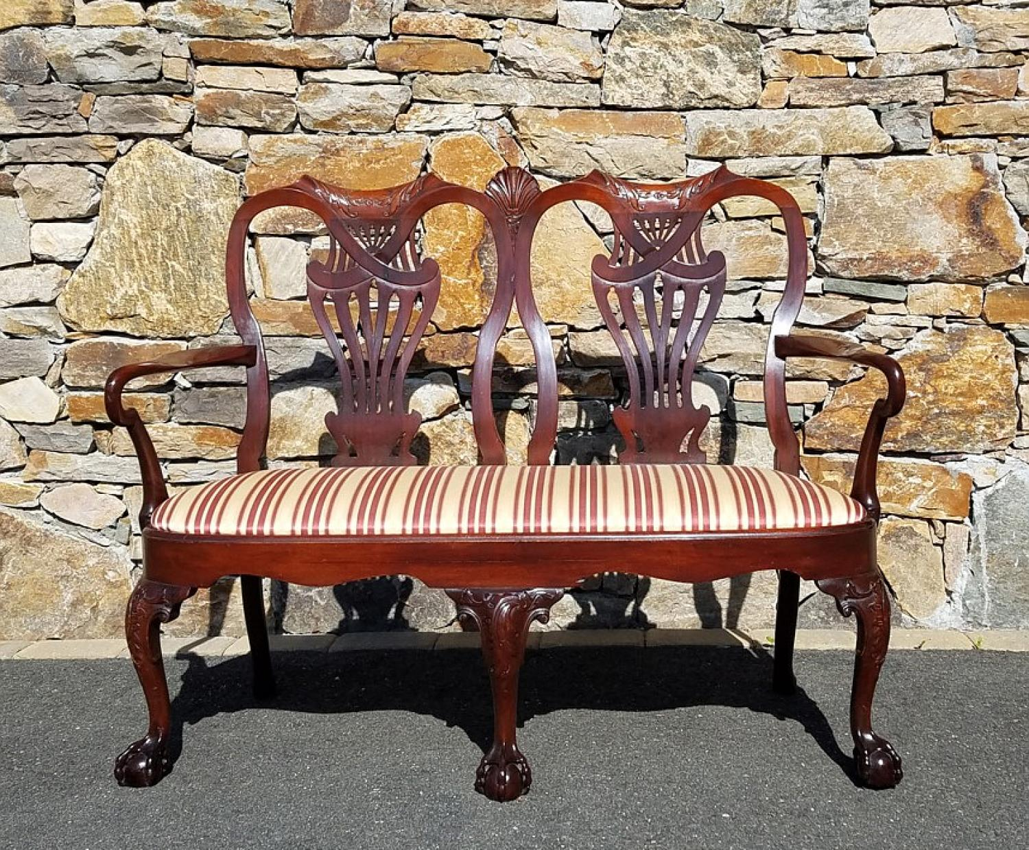 Centennial Chippendale mahogany double settee