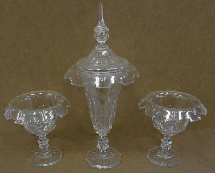 Three piece cut glass compote set c1850