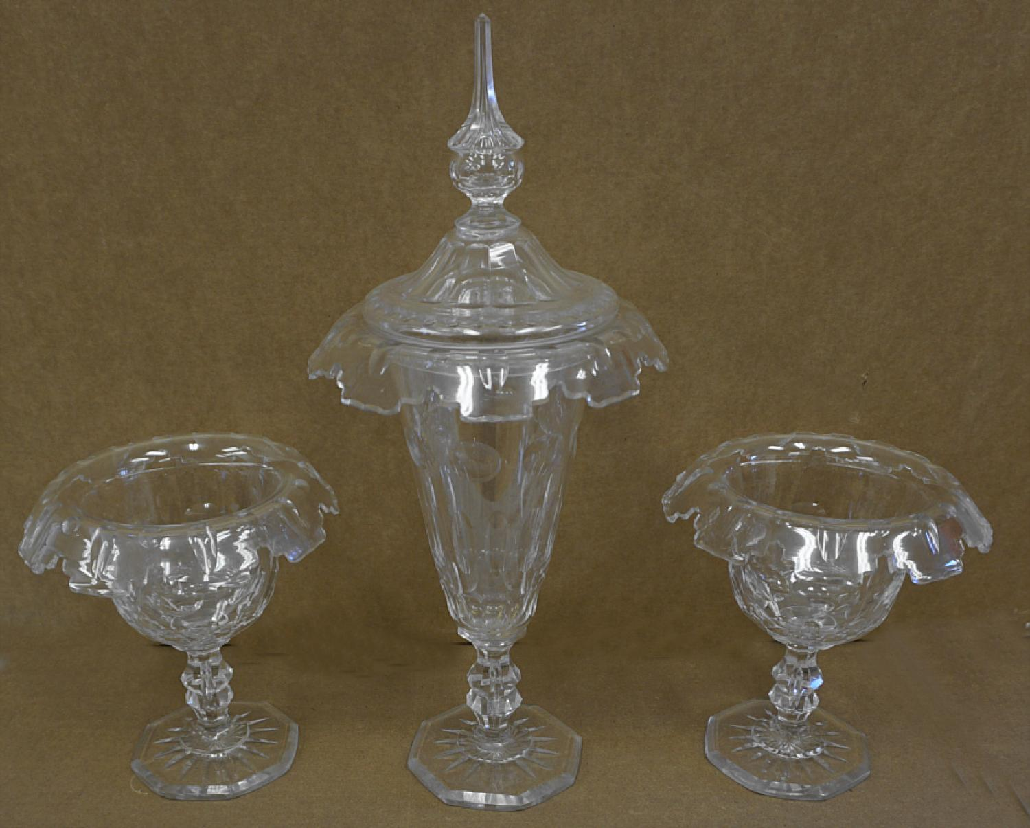 Three piece cut glass compote set c1850