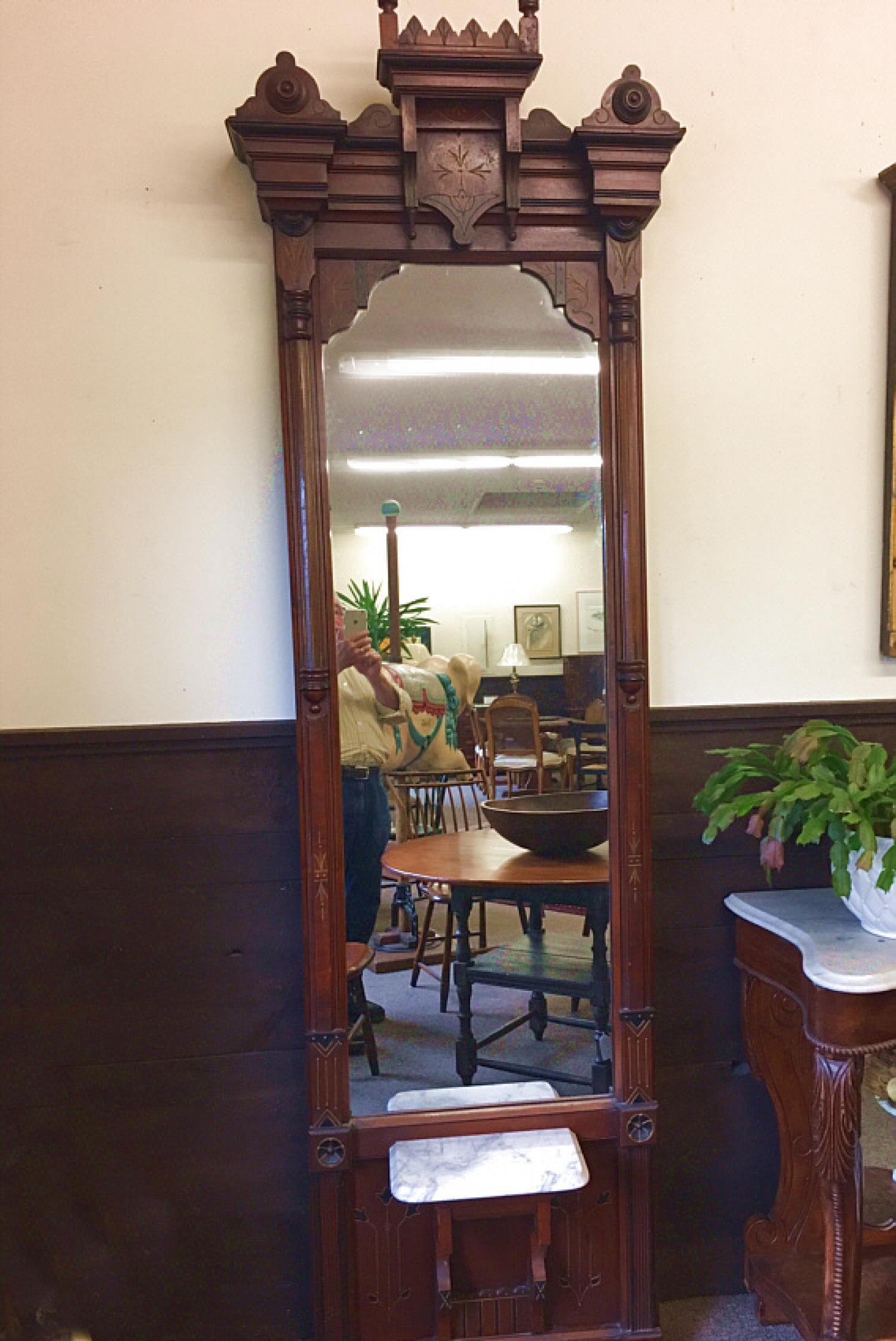 Eastlake Victorian walnut pier mirror  c1880