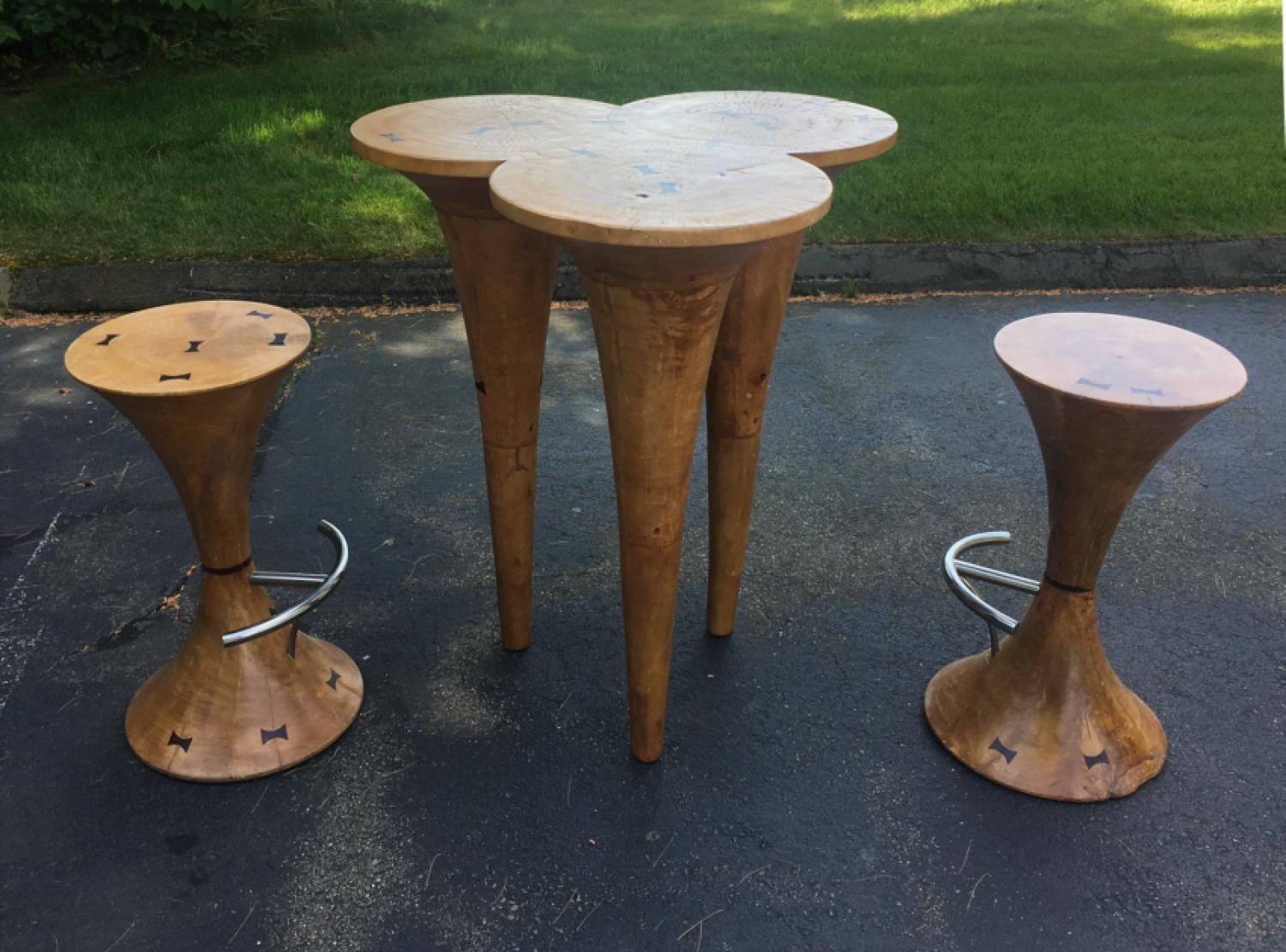 Vintage Tiki bar and pair of stools
