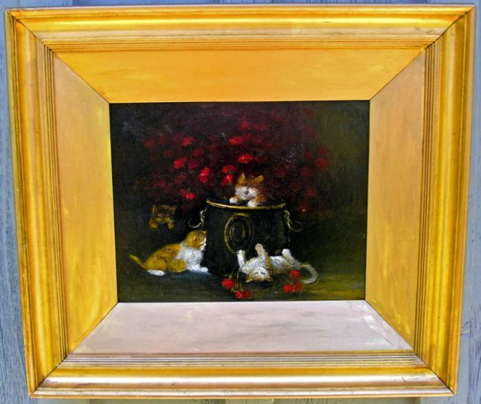 English oil painting of four kittens c1860