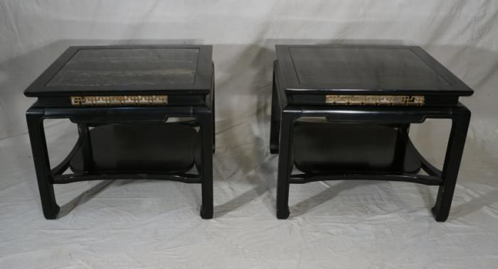 Chinese Modern black lacquer and marble end tables