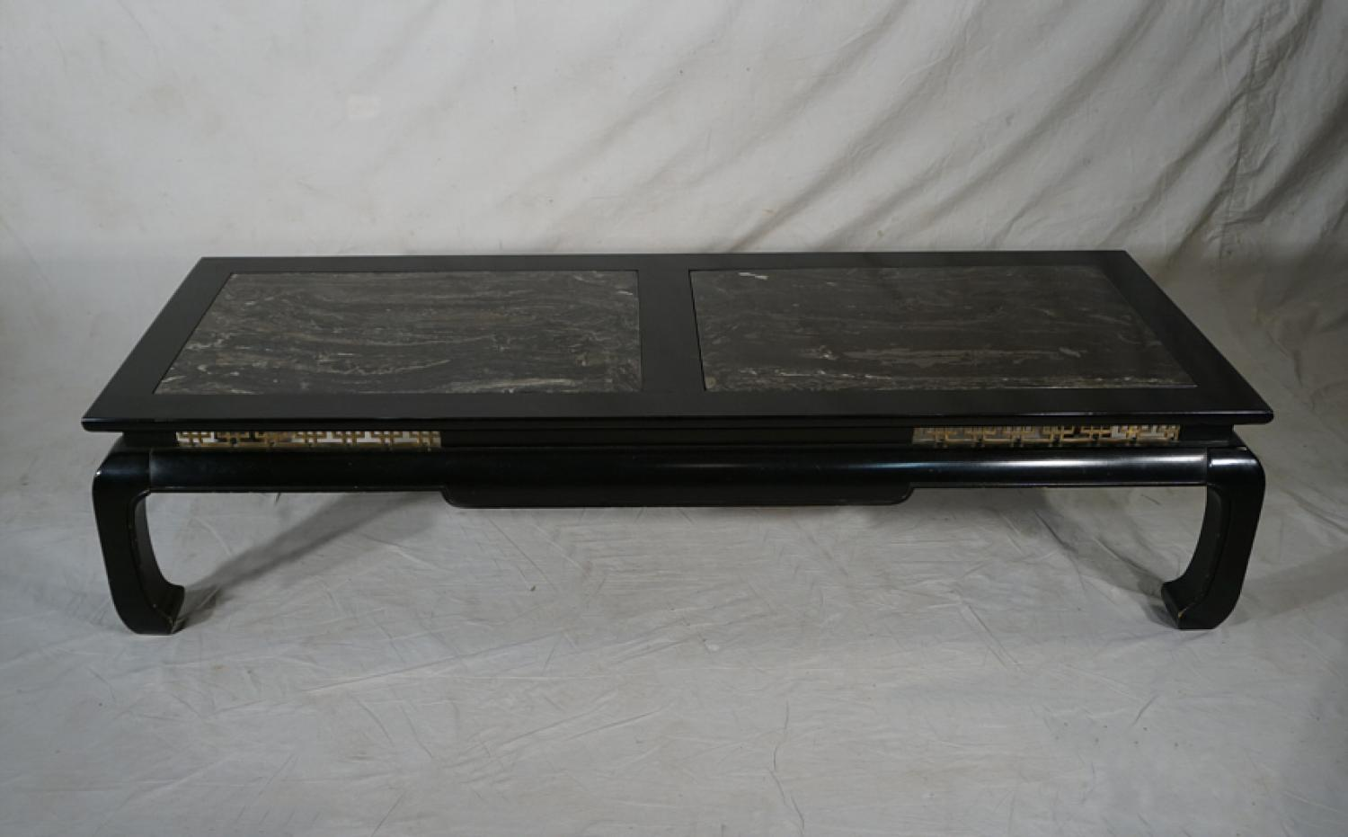 Chinese Modern black lacquer and marble coffee table