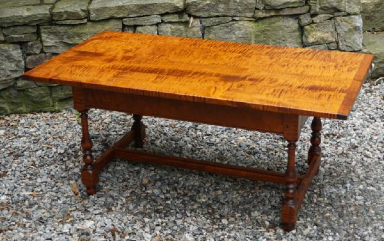 Vintage Eldred Wheeler tiger maple coffee table #0986