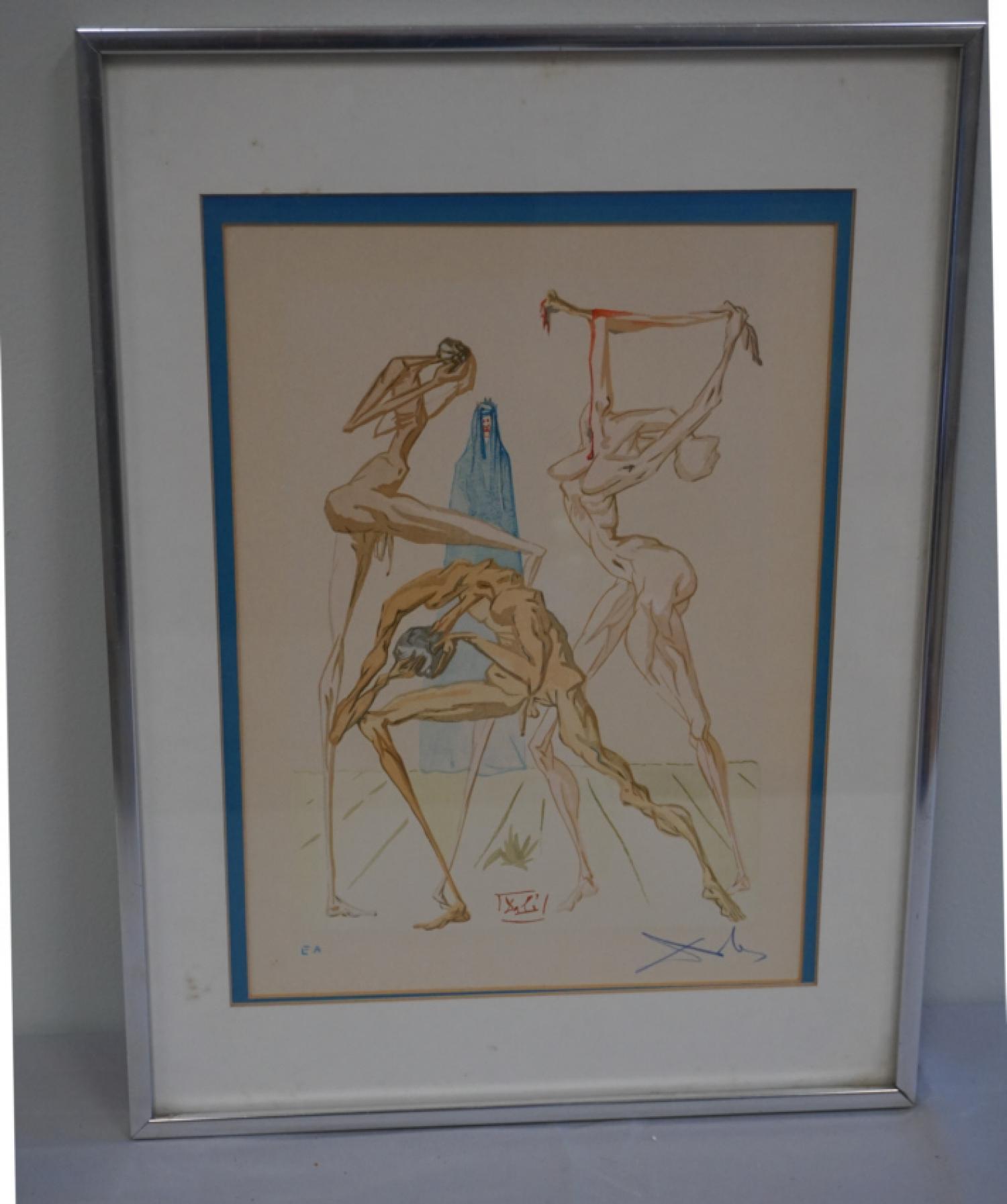 Salvador Dali woodcut engraving Dwellers of Prato 15