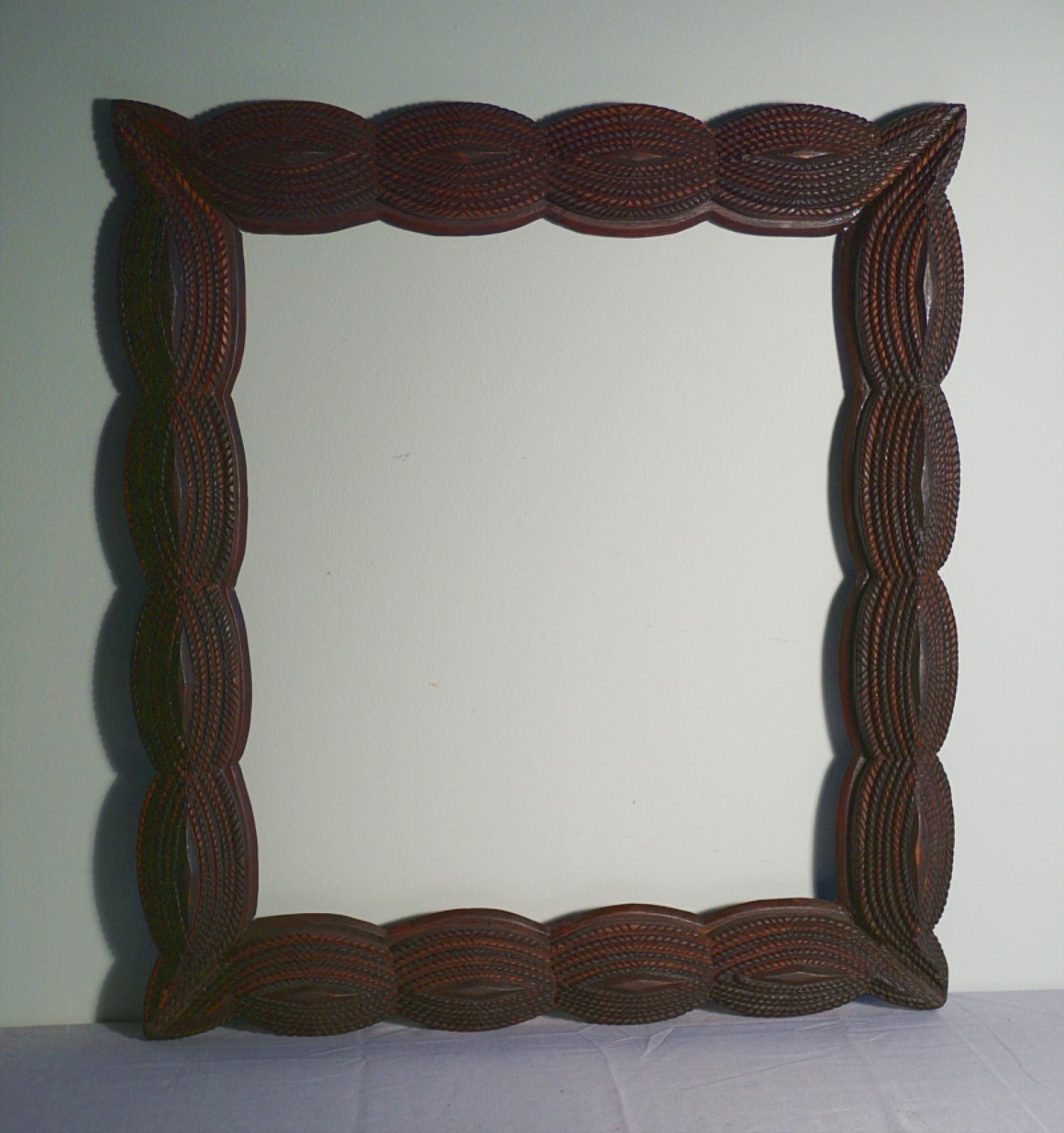 American folk art walnut frame c1880