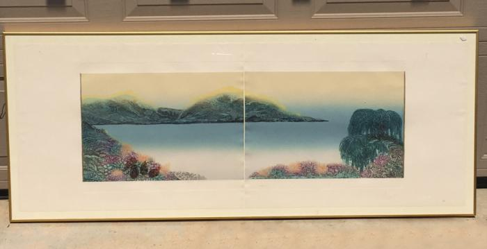 Woodblock diptych print titled Willow
