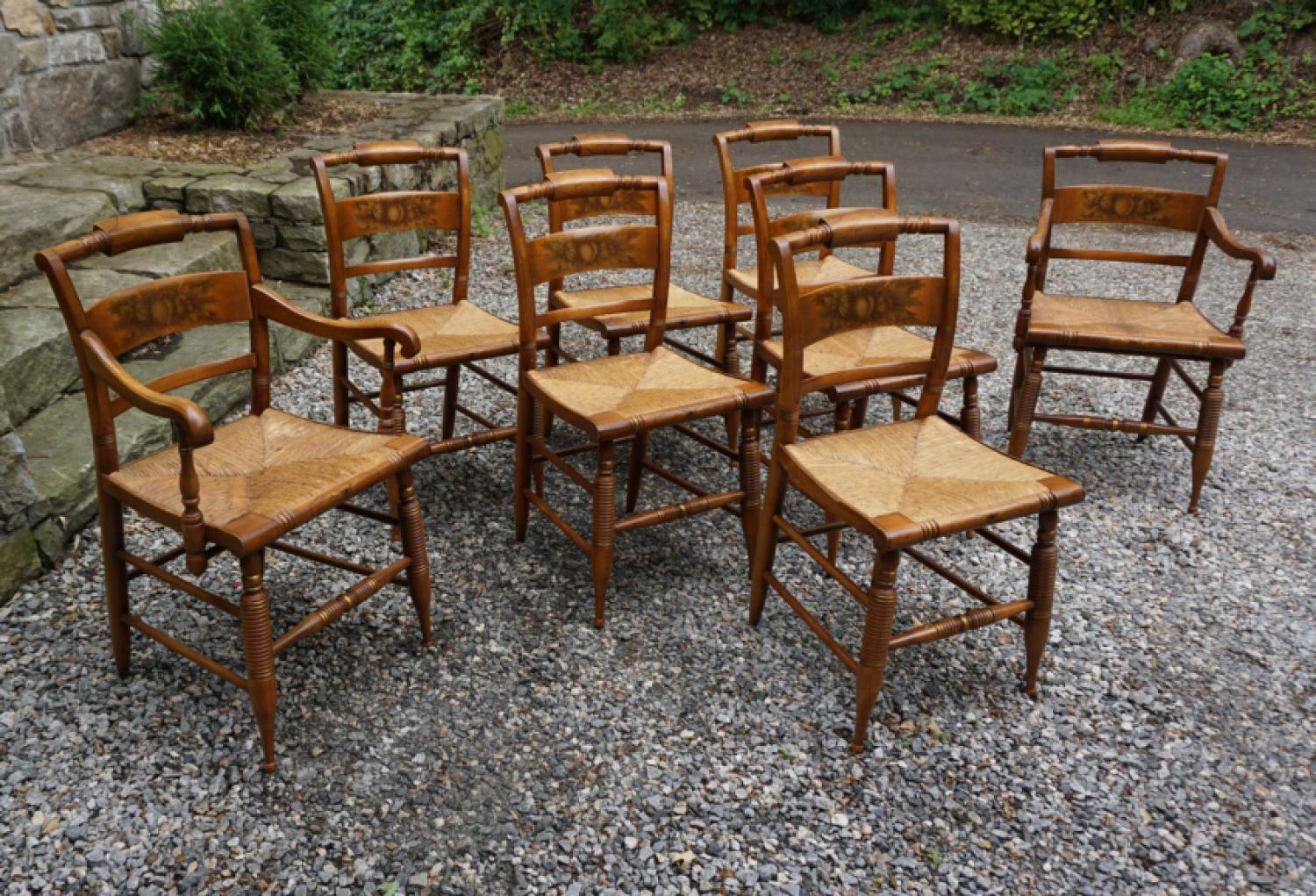 Set of 8 Hitchcock dining chairs c1950