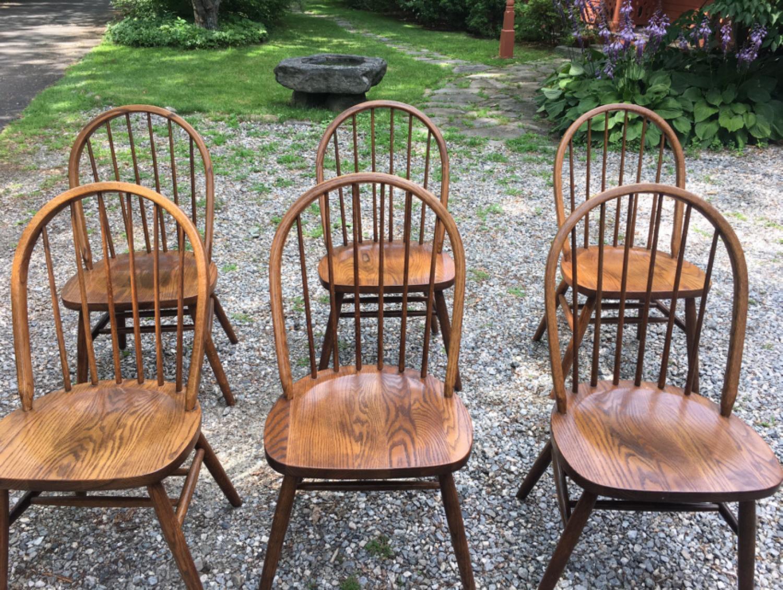 Vintage Boling oak kitchen Windsor chairs