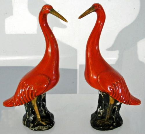 19th C Chinese porcelain waterfowl figures