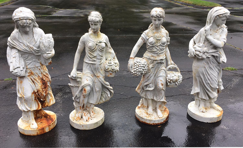 Antique cast iron garden statue group