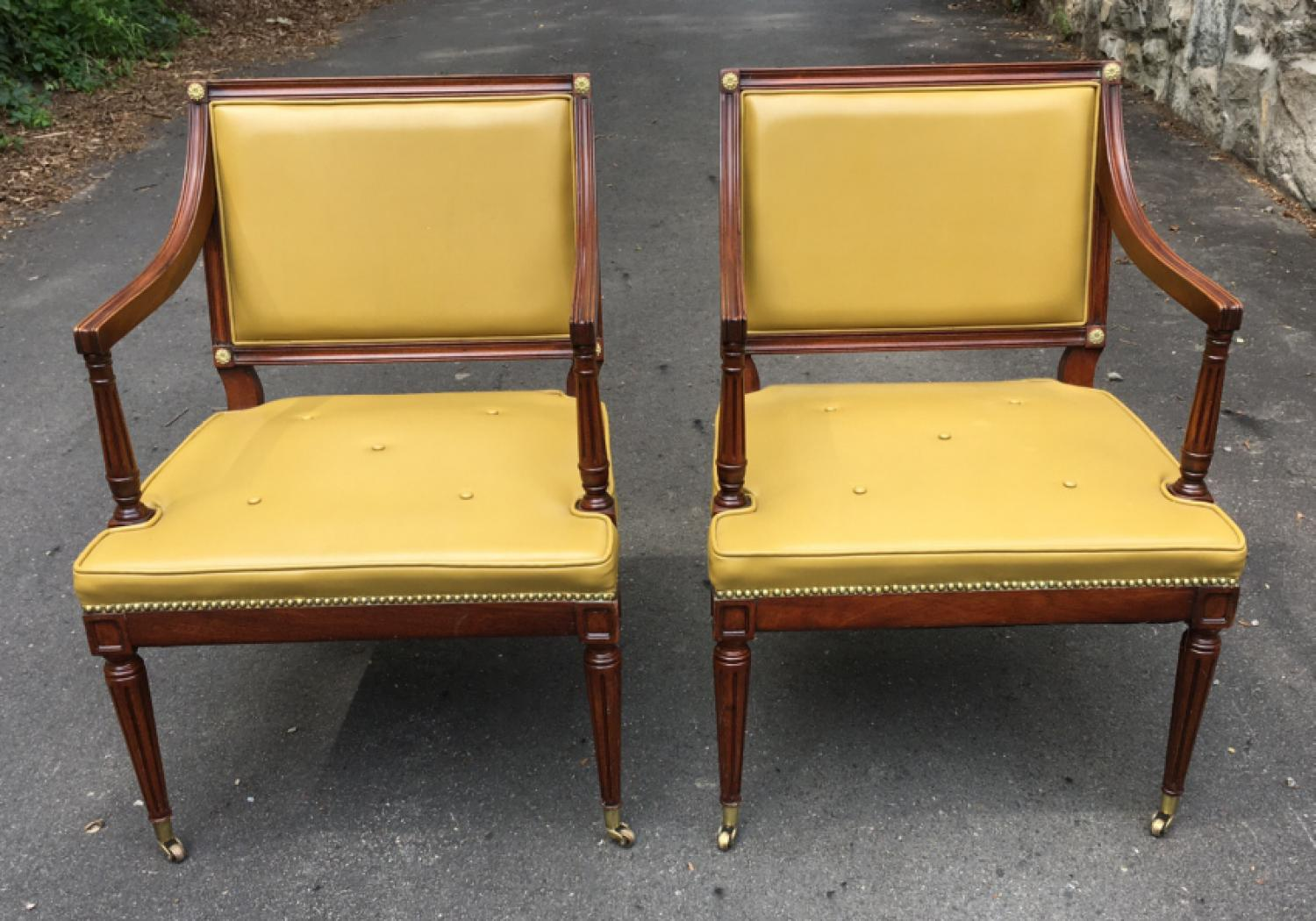 G Fox pair of arm chairs in Regency style