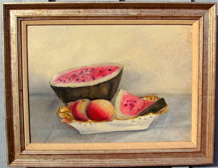 American Primitive Watermelon Painting c1850