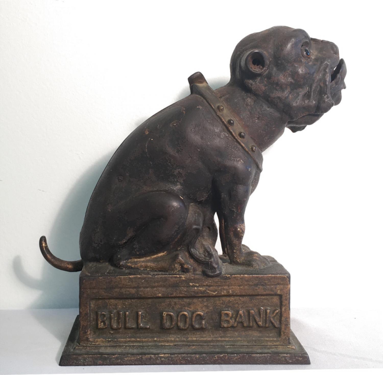 J  E Stevens Bull Dog Mechanical Bank