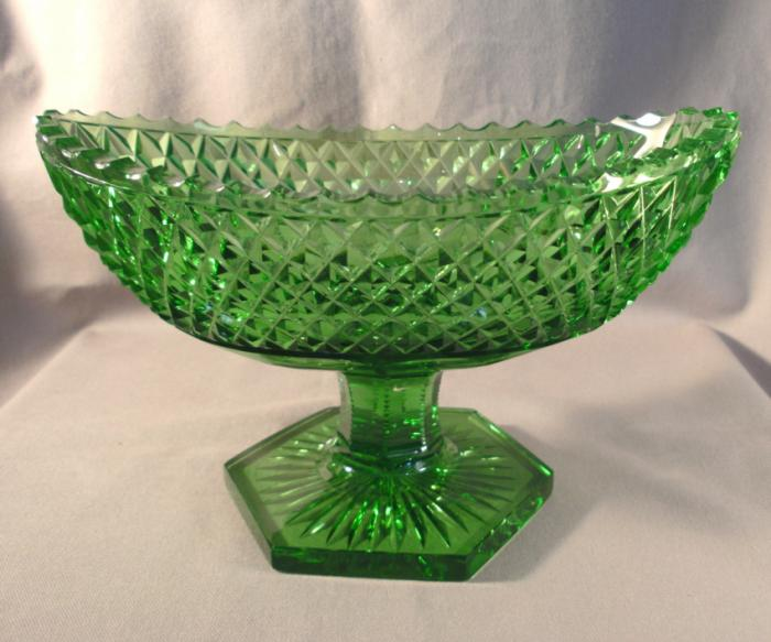 Georgian style green cut crystal footed compote