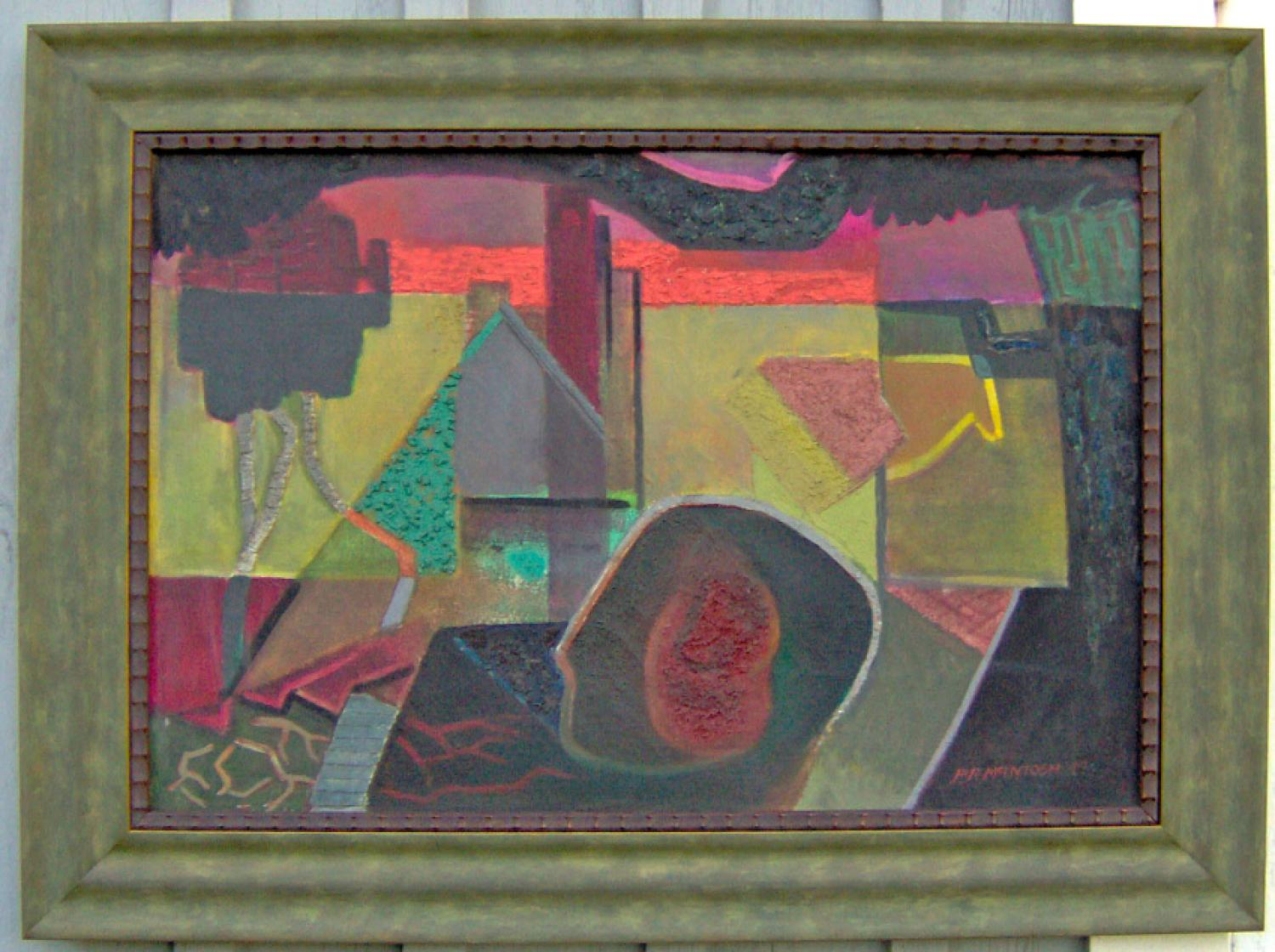 P R McIntosh Geometric Abstract Oil Painting