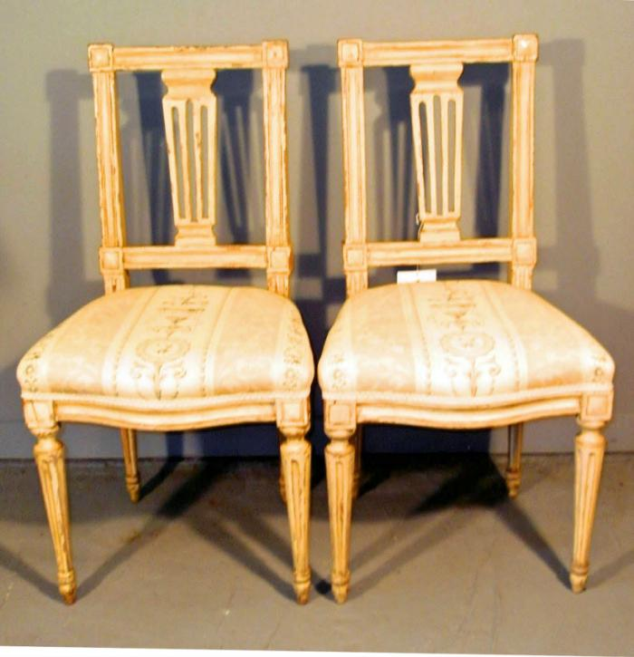 Gustavian 18th c painted pair of chairs