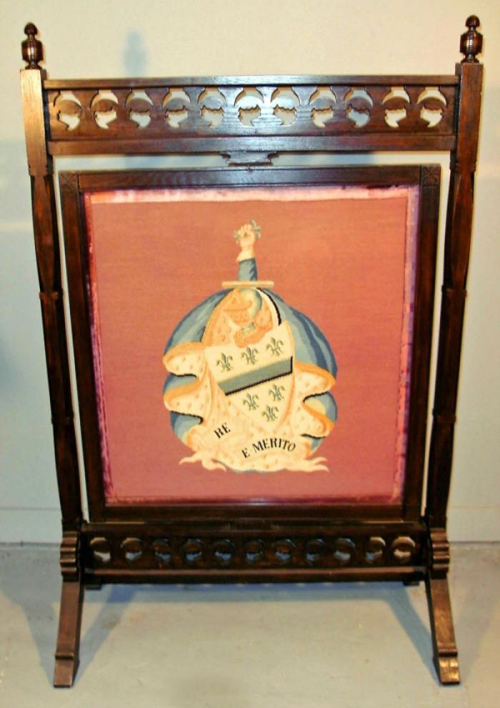 Aesthetic Eastlake walnut needlepoint fire screen
