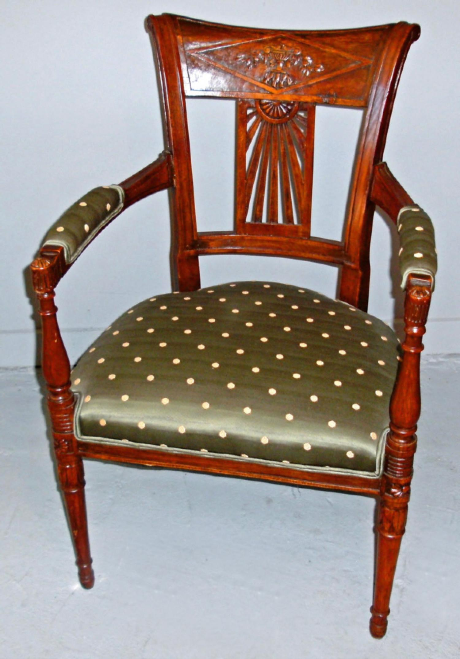 Italian Directoire style 19th c walnut armchair