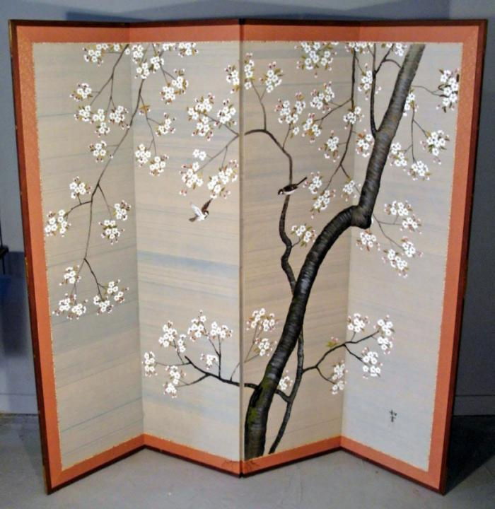 Japanese hand-painted silk screen c1910