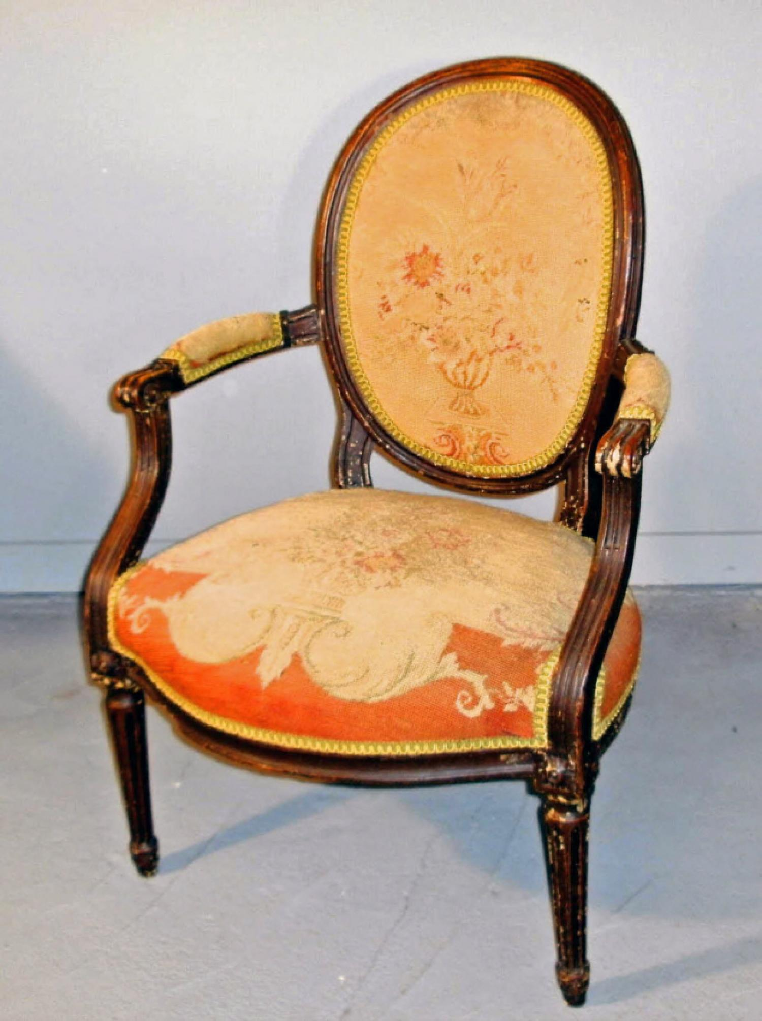Louis XVI style fauteuil open arm chair with needlepoint