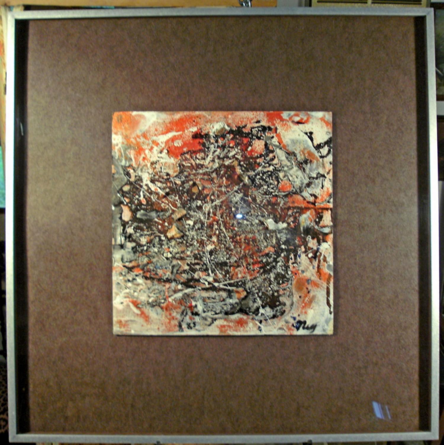 Lloyd Ney abstract mixed media painting on board